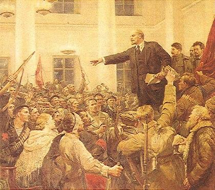 Вот она знаменитая четверка: Ленин, Сталин, Троцкий и КРАСНЫЙ ПЛАЩ