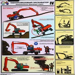 плакат одноковшовый экскаватор безопасность земляных работ